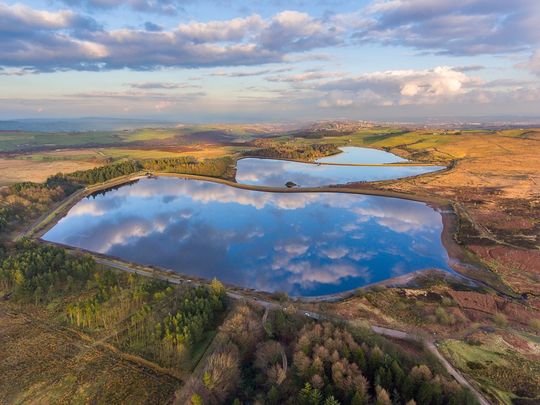 3.1.7 aerial image of Redmires reservoirs reproduced kind permission of Matthew Rigby